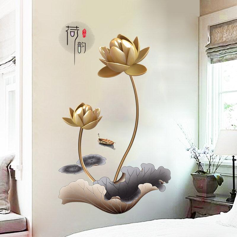 FS Golden Lotus porch wall bedroom adhesive paper walls paper