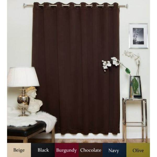 Chocolate Wide Width Nickel Grommet Top Thermal Insulated Blackout Curtain 100 Inch By 120