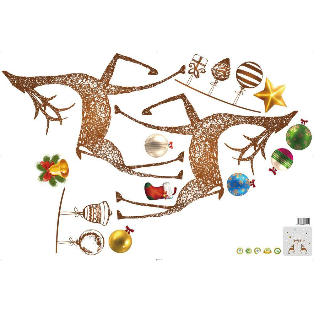 Christmas Elk Removable Furniture Vinyl Window Wall Sticker Decoration - intl