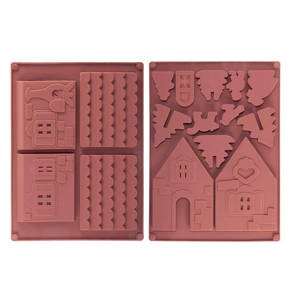 Christmas Gingerbread House Chocolate Molds Silicone Candy Baking 2pack Snowman Pigeon Tree Diy Model Mold Kids Figure By E.l.c.d.
