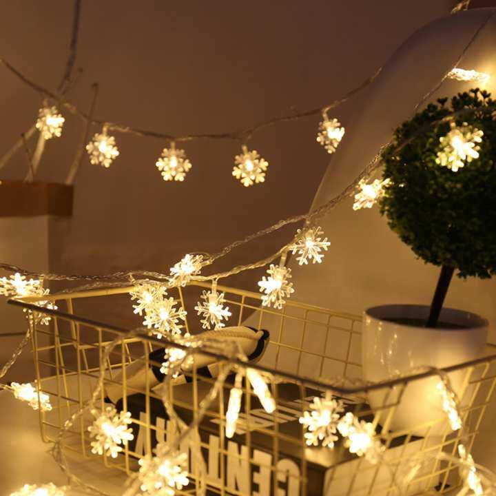 Christmas LED Snow Flower String Lights Wedding Party Garden Snowflakes Tree Hanging Decor  (5m Warm White)