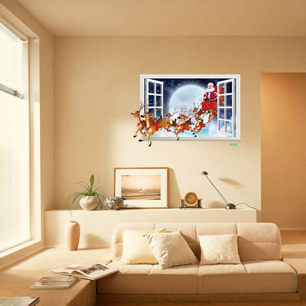 Christmas Santa Claus Removable Furniture Vinyl Window Wall Sticker Decoration - intl