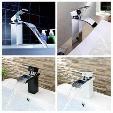 Chrome Brass Waterfall Bathroom Basin Faucet Single Handle Hole Sink Mixer Tap