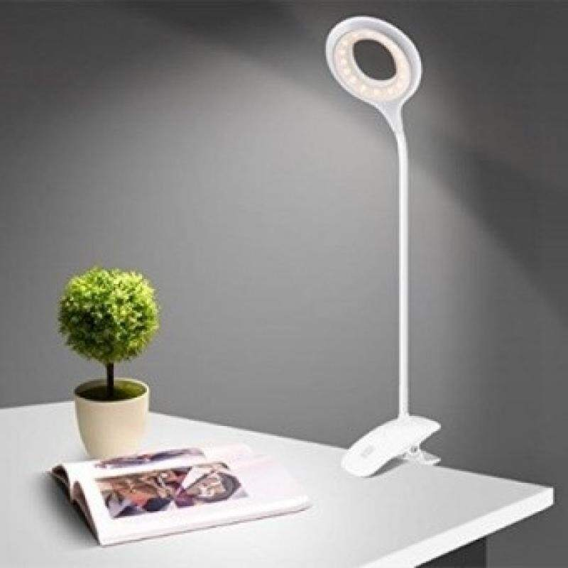 Clamp Desk Light Dimmable Clip Bedside Lamps 3 Levels Brightness Flexible Neck Usb Rechargeable