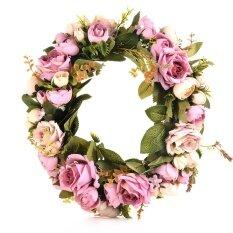 Hiqueen Klasik Bunga Imitasi Palsu Garland untuk Rumah Kamar Taman Lintel Dekorasi Mawar Bunga Peony