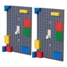Classic Light Switch Baseplate Covers By Strictly Briks | Building Bricks Base Plates | 100% Compatible With All Major Brands | Unique Cover For Bedroo And Play Roo | 2 Pack Gray