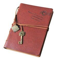 ... Gift With Key Binding Intl. Classic Retro Leather Key Blank Diary Notebook Vintage String Journal Sketchbook Coffee
