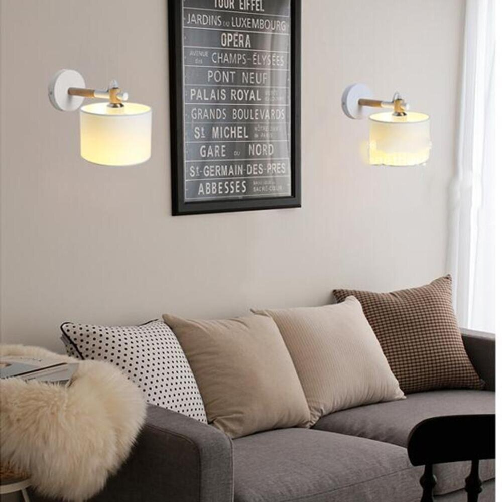 Classic Retro Wood Cloth Wall Lamp Bedside Lights Study Lamp Lighting With Shades For Living Dining Lounge Kitchen Bedroom E27 - intl