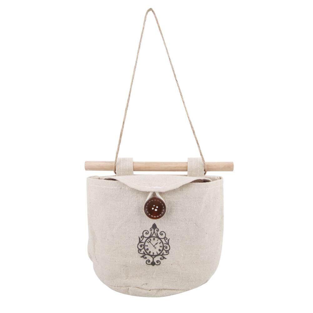 Newlifestyle Clock Wall Sundry Fabric Cotton Pocket Hanging Holder Storage Bags Rack - intl(Black)