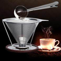 Coffee Cone Shaped Filter Stainless Steel Reusable Funnel With Stand And Clip Spoon Reviews