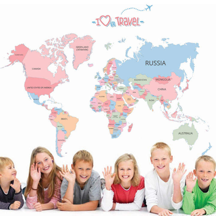 Colorful World Map Travel English Letters Wall Decal Home Sticker PVC Murals Paper House Decoration Wallpaper Living Room Bedroom Art Picture for Kids Teen Senior Adult Baby