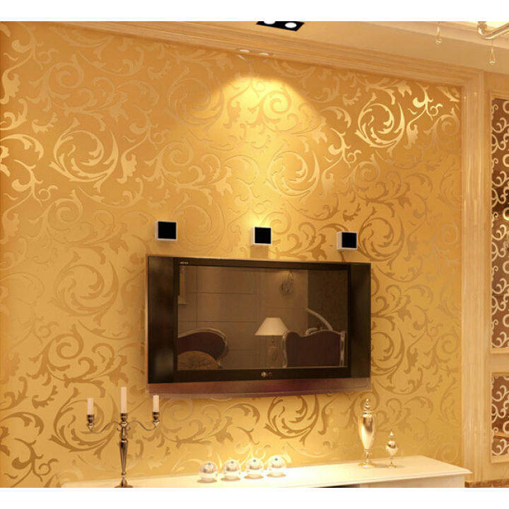 Contemporary Wallpaper Art Deco Yellow Wallpaper Wall Covering Non-woven Fabric Wall Art
