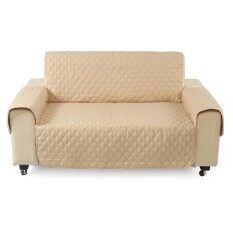 Couch Sofa Cover Removable Quilted Slipcover Pet Protector W/ Strap 1 2 3 Seater (Khaki) – intl