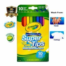 Crayola Super Tips Washable Markers 10 Colors-588610 By Vc Art Stat.