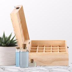 Redcolourful Creative 25 Slot Wooden Essential Oil Box, Holds 25 5-15 ml Roller Bottles Wooden Storage Case for Travel or Gift