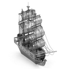 Creative 3D Nano Metallic Pirate Ship Assembly Educational Puzzle Toy for Kids / Children – Silver