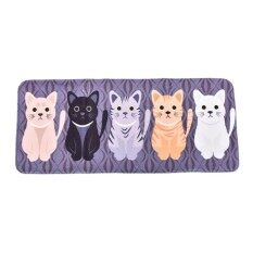 Creative Cartoon Cute Cat Print Door Bathroom Floor Bedroom Matentrance Mat Multicolor 50*120Cm