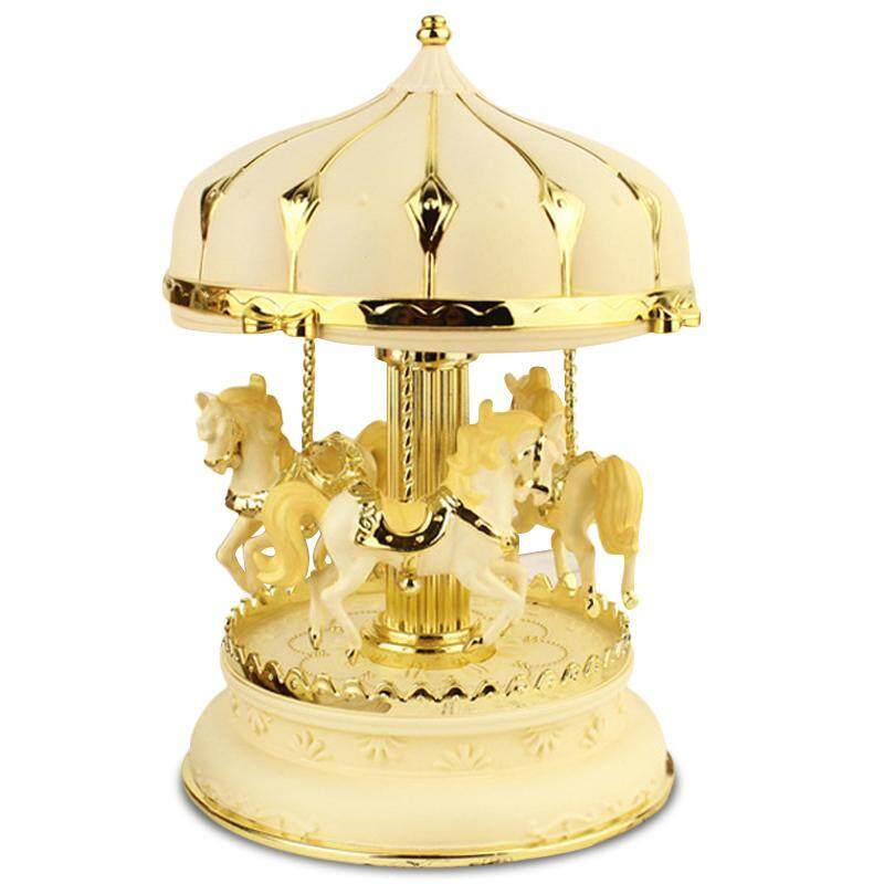 Creative Girls Carousel Music Box Jewelry Box decoration of a room - plastic 7.8 inches with light - intl