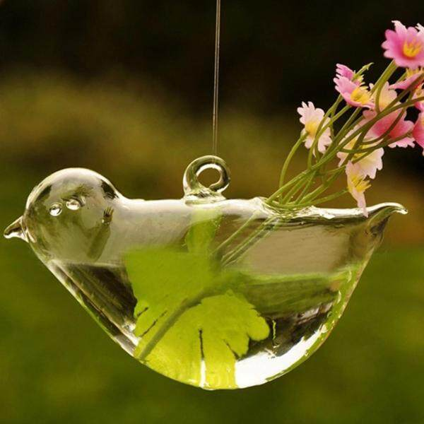 Creative Hanged Glass Vase with Bird Pattern Transparent Vessel for Home Decoration