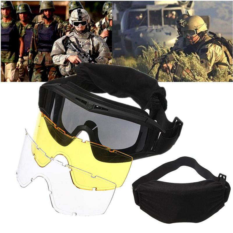 CS Game Airsoft Explosion-proof Goggle Glasses Eye Protection Mask with 3 Lenses Black