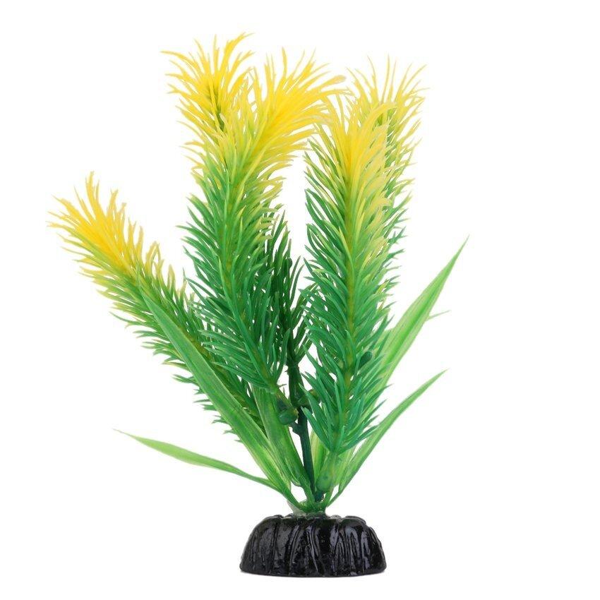 CTO Plastic Aquarium Water Plant Fish Tank Grass Ornament Decor (Green/Yellow) - intl