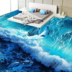 Tùy chỉnh 3D Xanh Dương Sóng Cá Heo Tầng Bức Tranh Tường Hình Sàn Giấy Dán Tường In Decal Dán Tường cho phòng tắm vệ sinh phòng ngủ dán