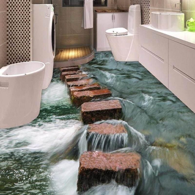 Hình ảnh Custom Photo Floor 3D Wallpaper Modern Art river stones Bathroom Floor Mural-3d PVC Wallpaper Self-adhesive Floor Wallpaper - intl