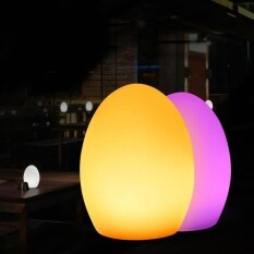 Hiqueen Cute Egg Shape LED Lamp, Waterproof And Shatter Resistant USB Rechargeable 16-color Atmosphere Night Light Size:D14xH19cm