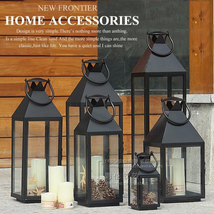 D-Pocket European Minimalist Retro Outdoor Floor Lantern Portable Lightswrought Iron Creative Candle Table Ornamen Wedding Props Lantern