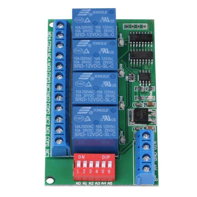 DC 12V 4-Channel RS485 Delay Timer Switch Relay AT Command Remote Control Accessries