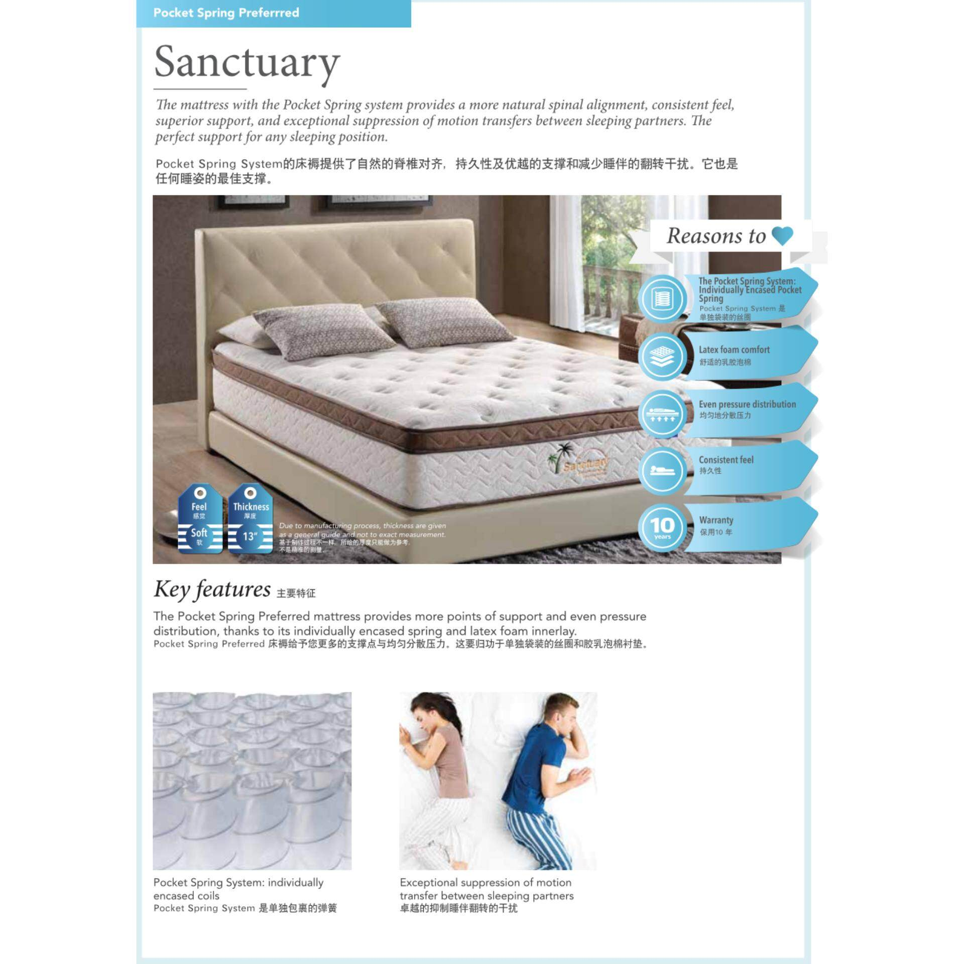 Deco Dreamland Sanctuary Pocket Spring Model 13 Inches Thick MiraCoil Technology Mattress Tilam With 10 Years Warranty