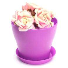 Decorative Flower Pots Gloss Plastic Plant Planter Saucer Tray for Home Garden