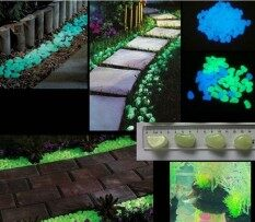 Decorative Gravel Garden or Yard 100 Glow in the Dark Sky Blue Noctilucent Pebbles Stones for Walkway Park Ornaments