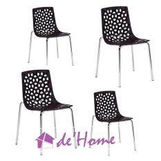 Dhome LY9108 (Set of 4) PP Plastic & Chrome Leg Dining Chair / Designer Chair (Black)