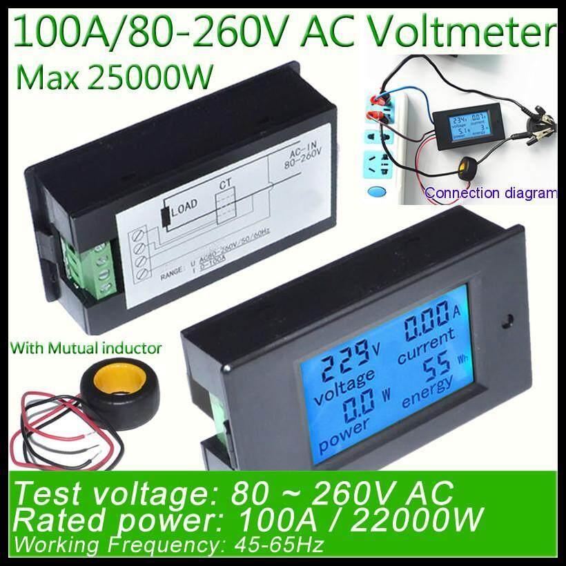 Joyfun Digital AC Tegangan Meter 100A/80 ~ 260 V Power Energi Voltmeter Analog Ammeter Watt Arus Amp Pengukur Tegangan Cangkir Gelas Termodinamika Termos- internasional
