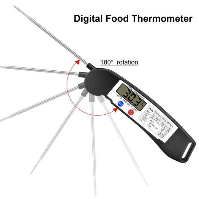 Digital LCD Food Kitchen Oven Cooking Meat BBQ Grill Thermometer(Black) - intl