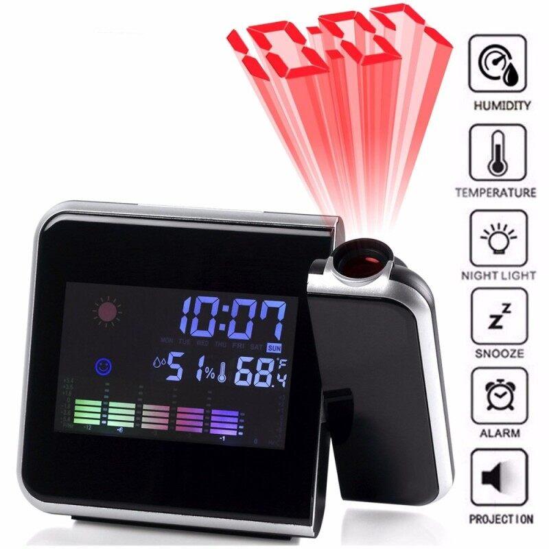 MÀN HÌNH LCD kỹ thuật số Thời Gian Máy Chiếu Báo Lại Màu Đồng Hồ Báo Thức Nhiệt Độ Thời Tiết Độ Ẩm bán chạy