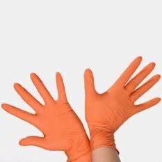 Disposable Butyronitrile Gloves Labor Supplies, Size: L, Suitable for Palm Width: 9 - 10cm (Orange)
