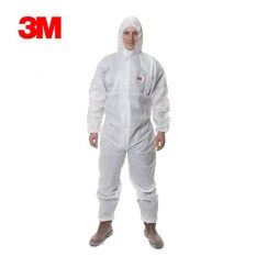 Disposable Coverall Dust Spray Suit Siamese Non-woven Dust-proof Clothing White Labor Safely Security Protection Clothes int:L