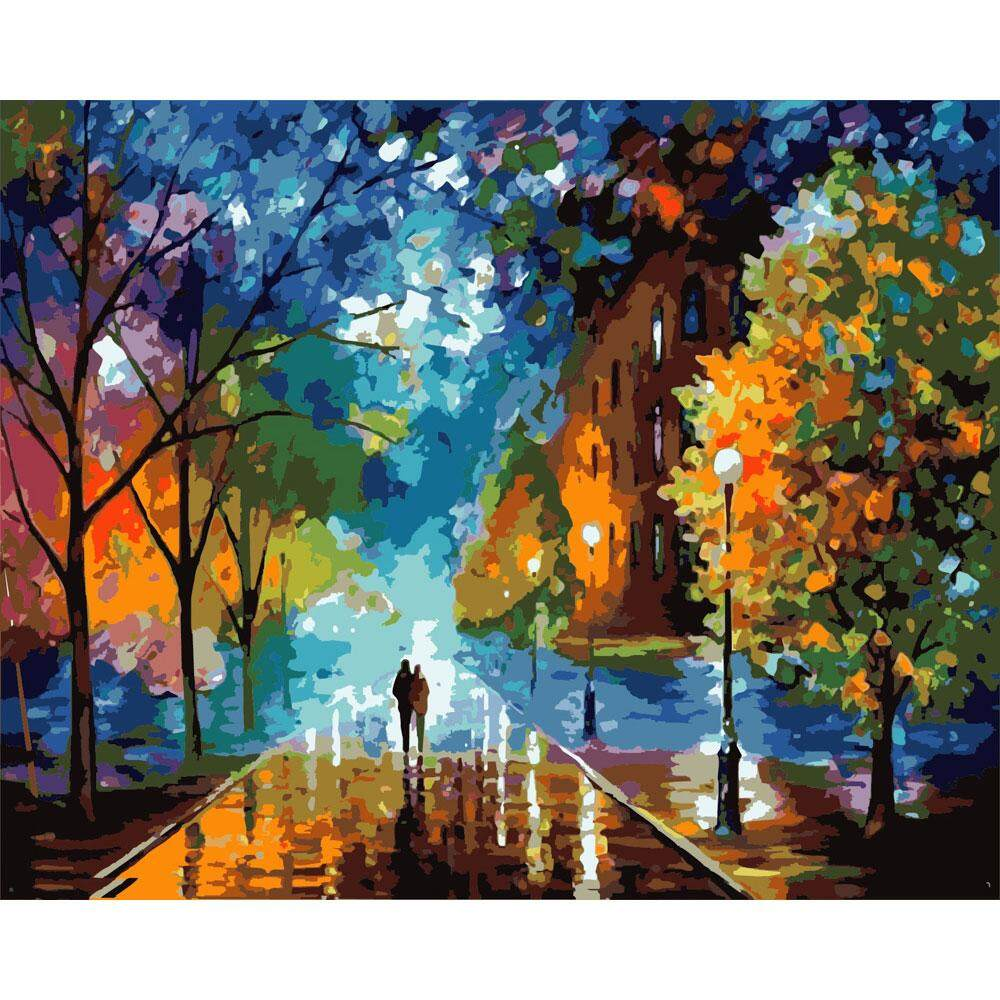 With Frame DIY Paint by Numbers Kit Beautiful Life Hand Painting, For Home Decoration, 40 x 50 cm