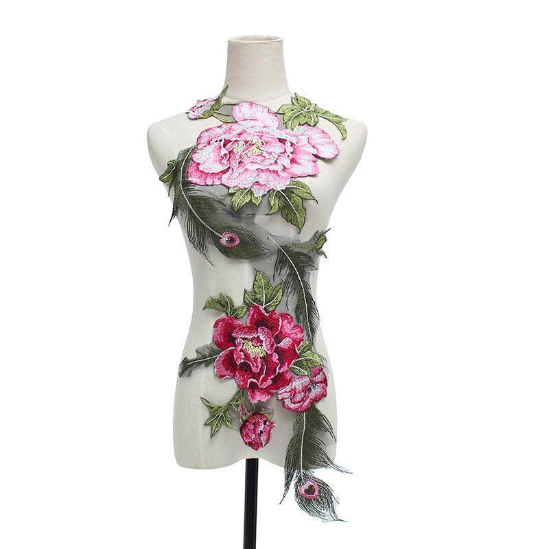 DIY Peacock Bunga Tempelan Bordir Sequin Baju Bunga Bordir Applique Menjahit Baju Pengantin Trim Garmen Dekorasi-Intl