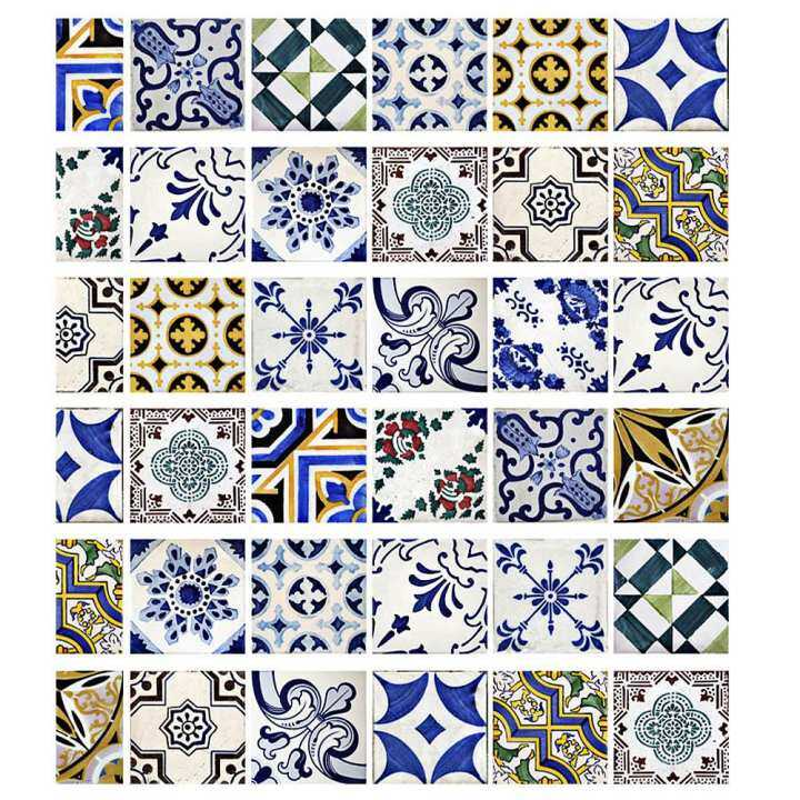 DIY Tile Decals Mexican Traditional Stair Stickers Removeable Waterproof Wallpaper Home Decor 7.1 x 39.4 inch 6pcs