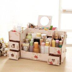 OS DIY Wood Makeup Cosmetics Organizer Removable  Storage Drawers Jewelry Case