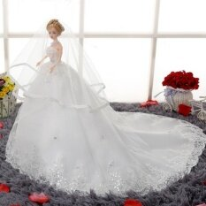 Doll Furnishing Articles Chinese Doll with Elegant Paillette Wedding Gown Wedding Doll Toy