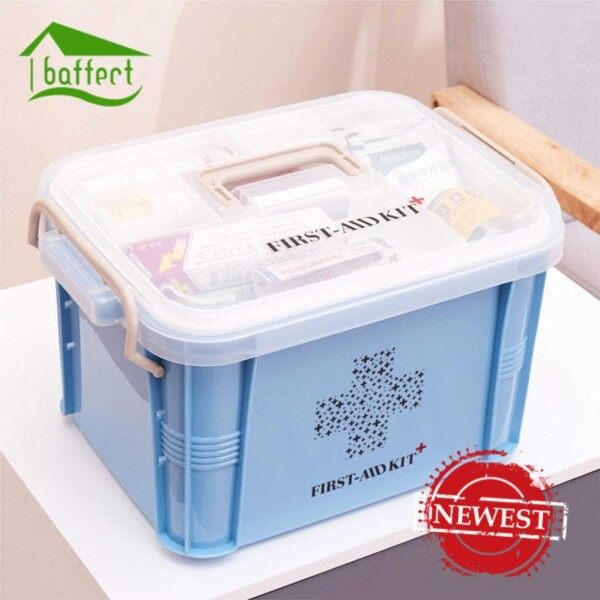 Double Layer First Aid Box, BAFFECT® Household Portable Pill Drug Medical Storage Organizer for Home, Travel, Camping, Office and The Workplace