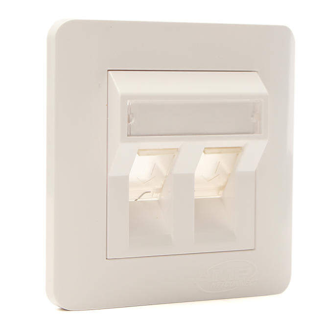 Skyingface Double Ports CAT 6 IDC Wall Outlet- RJ45 2 Way Faceplate Network LAN Socket