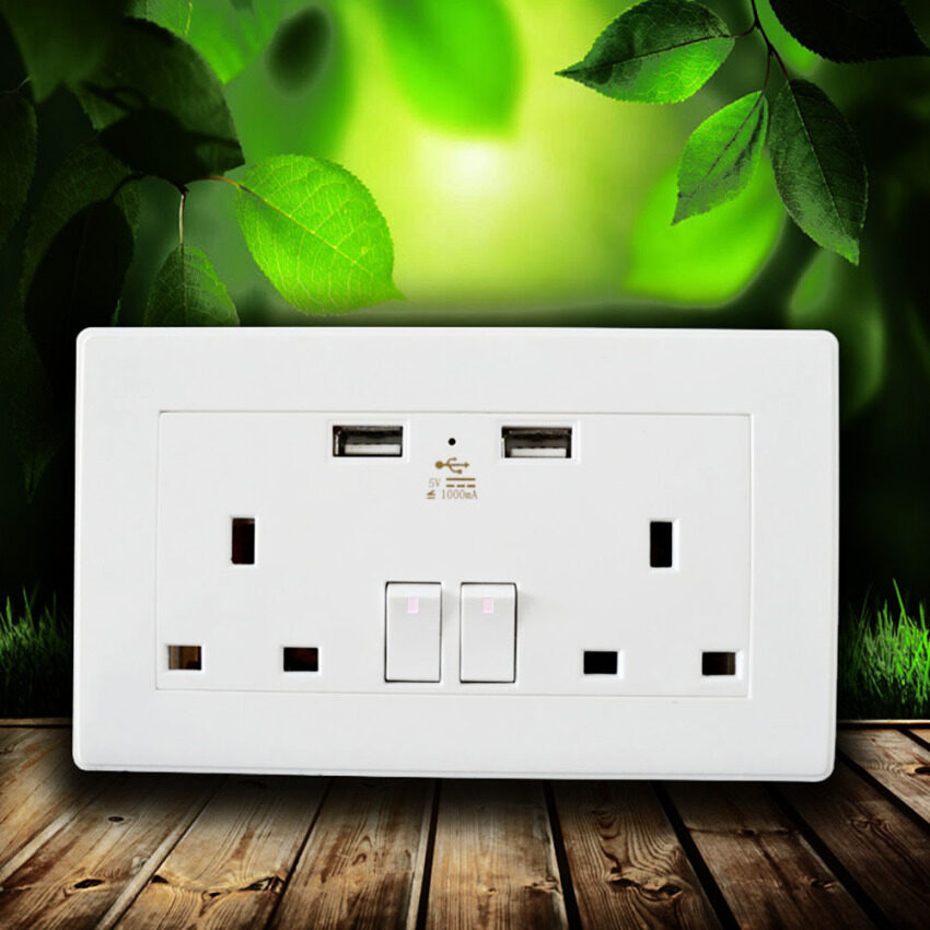 FineTop Double Socket USB Wall Socket Electric Wall Plug Sockets With 2 USB 2.0 Wall Plate Outlets White