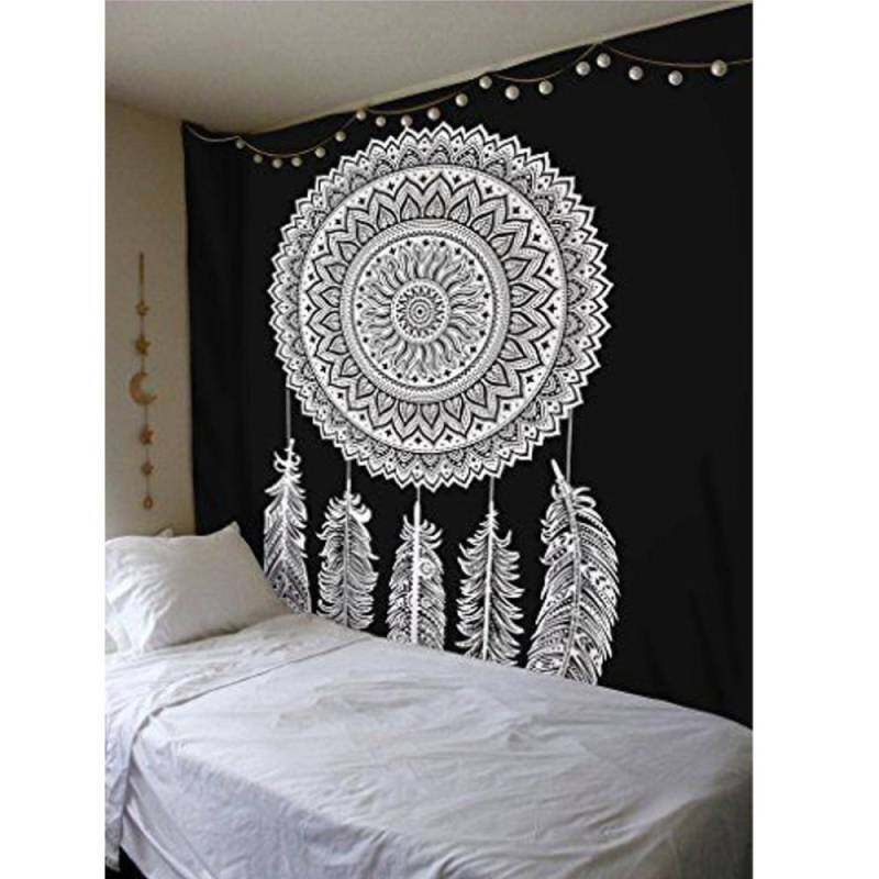 GETEK Dream Catcher Black White Indian Mandala Tapestry Wall Hanging Cotton Mat Decor