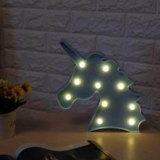 Dsstyles LED Unicorn Lampu Malam Dekoratif 3D Marquee Tanda Ringan untuk Kamar Tidur Anak-anak Spesifikasi: Biru Kepala Binatang