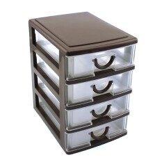 ทนทานพลาสติกโต๊ะสำนักงานตู้ลิ้นชักตั้งโต๊ะสไตล์กล่องจัดเก็บขนาด: 4 ลิ้นชัก.
